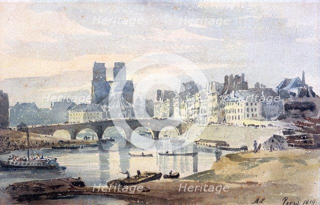 'Notre-Dame de Paris from the Ile Saint-Louis', 1819. Artist: Amelia Long