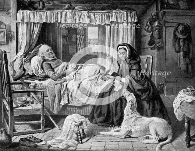 'The Queen in a Cottage Bedroom', late 19th century, (c1920). Artist: Unknown