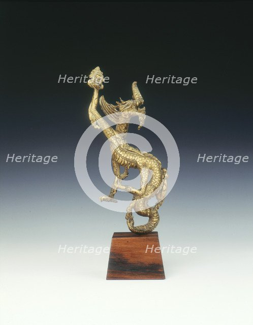 Gilt bronze four-clawed dragon finial, Ming dynasty, China, 16th century. Artist: Unknown