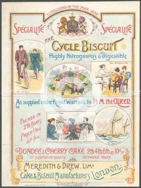 Meredith & Drew Cycle Biscuits, 1890s. Artist: Unknown