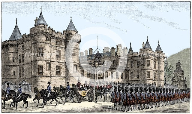 The queen leaving Holyrood Palace, Edinburgh, 1886, (1900). Artist: Unknown.
