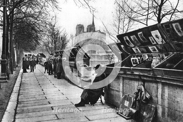 Book stalls along the quays, Paris, 1931.Artist: Ernest Flammarion
