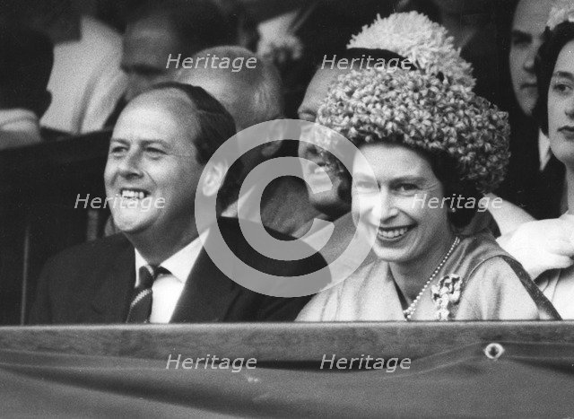 Queen Elizabeth II with HF David, Chairman of the All England Club at Wimbledon, 1962. Artist: Unknown