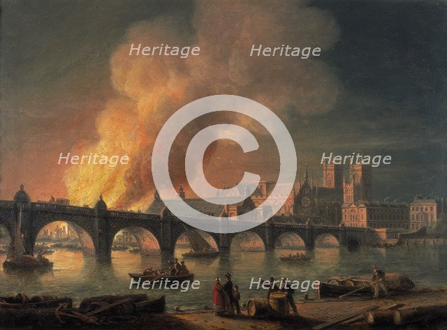 'Westminster Bridge and the Burning of the Houses of Parliament from Lambeth', 1835. Artist: Thomas Luny