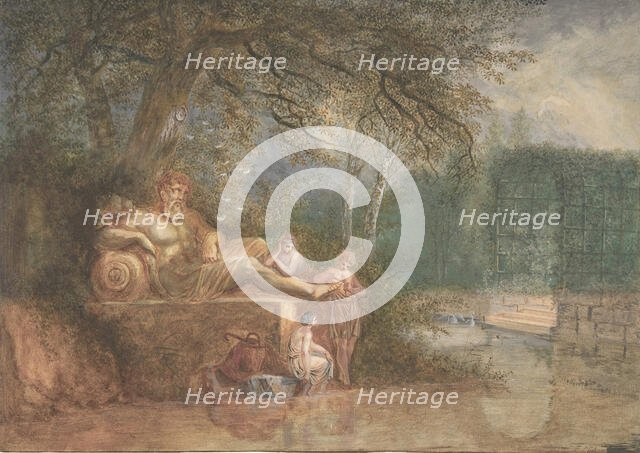 A Park with Figures at a Statue near Water, 1775 (?). Creator: Salomon Gessner.