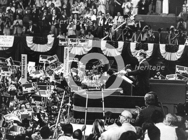 Senator Edward Kennedy addresses the Democratic Convention in Madison Square Garden, c1980s. Artist: Unknown