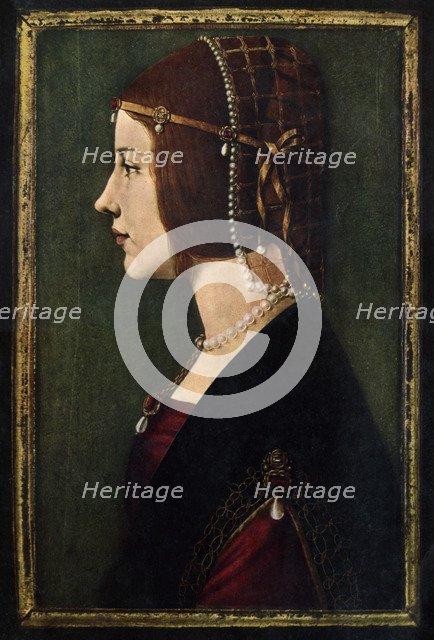 Beatrice d'Este (1475-1497), c1490.Artist: Leonardo da Vinci