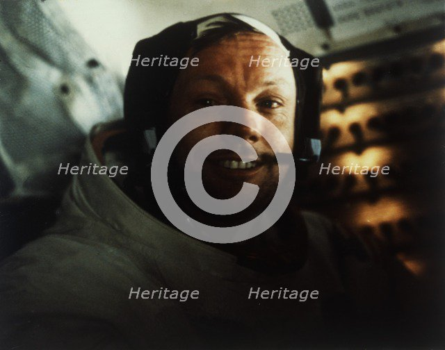 Commander Neil Armstrong in the Lunar Module on the Moon, Apollo 11 mission, July 1969. Creator: Buzz Aldrin.