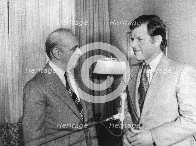 Senator Edward Kennedy with Prime Minister Constantine Karamanlis, Greece, 1974. Artist: Unknown