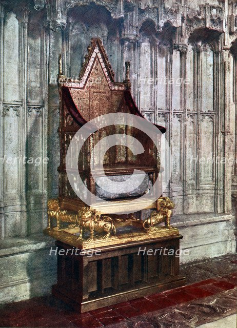 The Coronation Chair, with the Stone of Scone, Westminster Abbey, London, 1937. Artist: Unknown