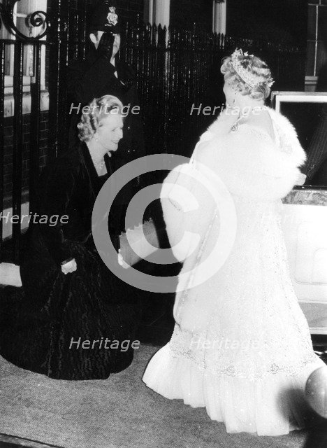 The Queen Mother with Margaret Thatcher outside 10 Downing Street, 1980. Artist: Unknown