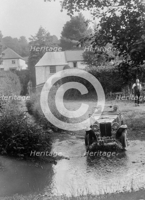 MG PA competing in the B&HMC Brighton-Beer Trial, Windout Lane, near Dunsford, Devon, 1934. Artist: Bill Brunell.