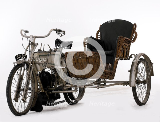 1906 Rex Motorcycle with Sidecar. Artist: Unknown.