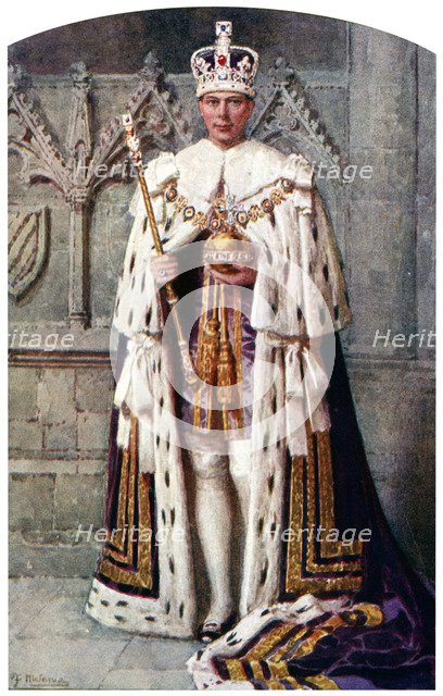 George VI in coronation robes: the Robe of Purple Velvet, with the Imperial State Crown, 1937.Artist: Fortunino Matania