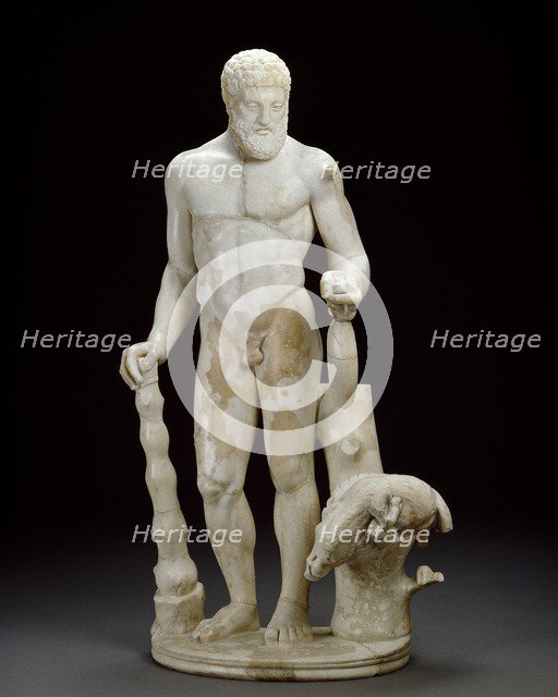 Marble statuette of Hercules and the Erymanthian boar, 2nd century. Artist: Unknown.