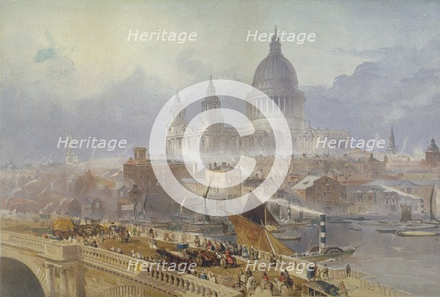 View of Blackfriars Bridge and St Paul's Cathedral, London, 1840. Artist: David Roberts