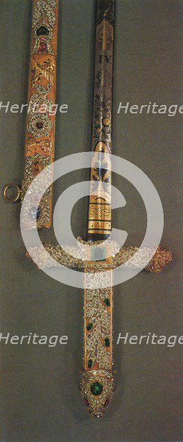 'Hilt and scabbard of the Jewelled State Sword', 1953. Artist: Unknown.