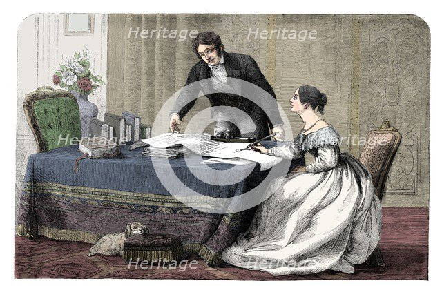 Lord Melbourne (1779-1848) instructing a young Queen Victoria 1819-1901), 1837 (c1895). Artist: Unknown.