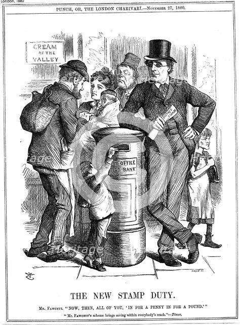 'The New Stamp Duty', 1880. Artist: John Tenniel