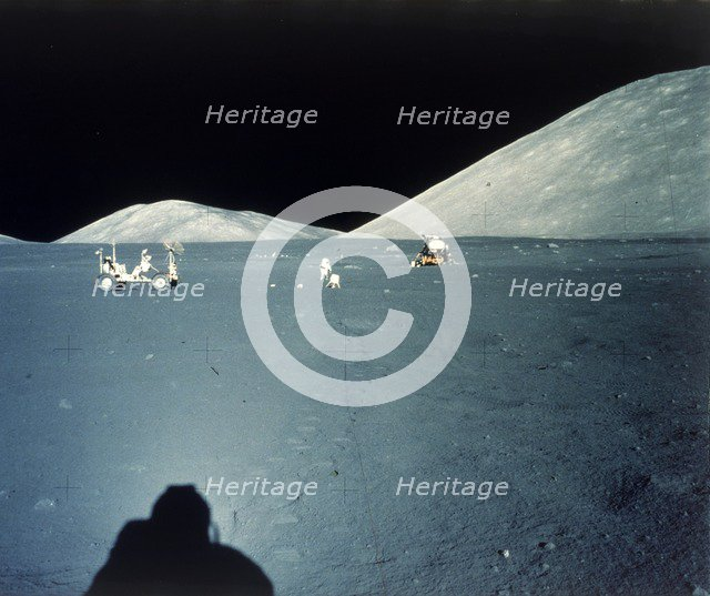 Lunar landing site, Apollo 17 mission, December 1972. Creator: NASA.