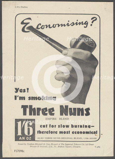 Three Nuns Pipe Tobacco, c.1930s. Artist: Wilfred Fryer
