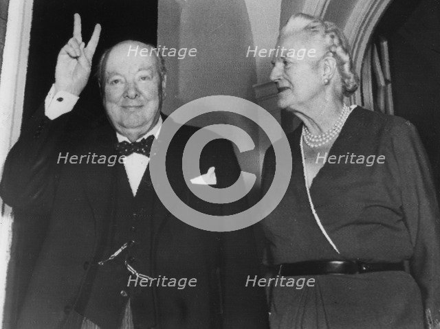 Sir Winston Churchill and Lady Churchill on his 81st birthday, Hyde Park Gate, London, 1955. Artist: Unknown