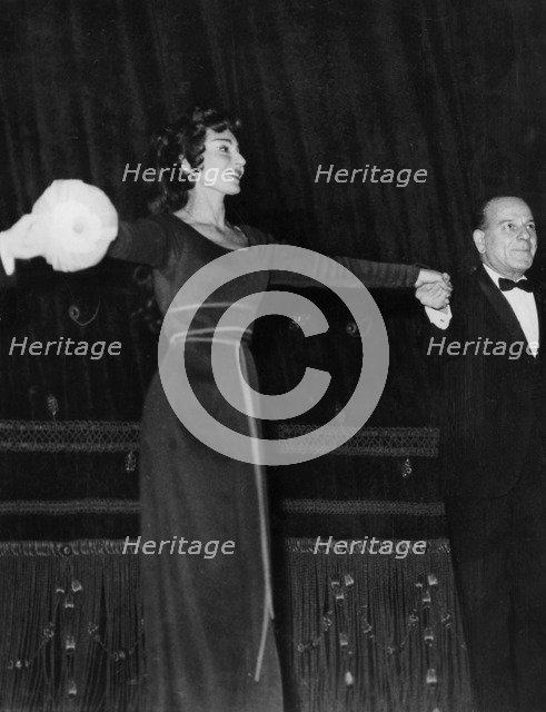 American-born Greek opera singer Maria Callas, La Scala Opera House, Milan, Italy, 1961. Artist: Unknown