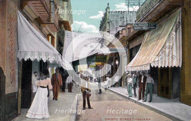 Obispo Street, Havana, Cuba, early 20th century. Artist: Unknown