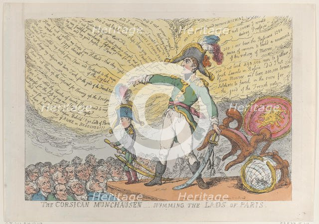 The Corsican Munchausen - Humming the Lads of Paris, December 4, 1813., December 4, 1813. Creator: Thomas Rowlandson.