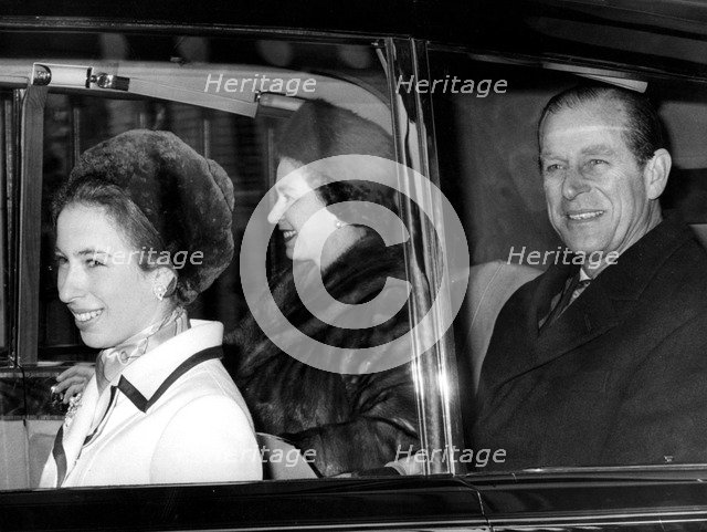 The Queen, Prince Philip and Princess Anne leaving Buckingham Palace, 1972. Artist: Unknown
