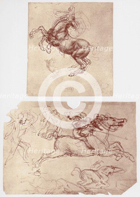 'Horse Rearing', and 'Horsemen and Foot-Soldiers', c1504.  Artist: Leonardo da Vinci