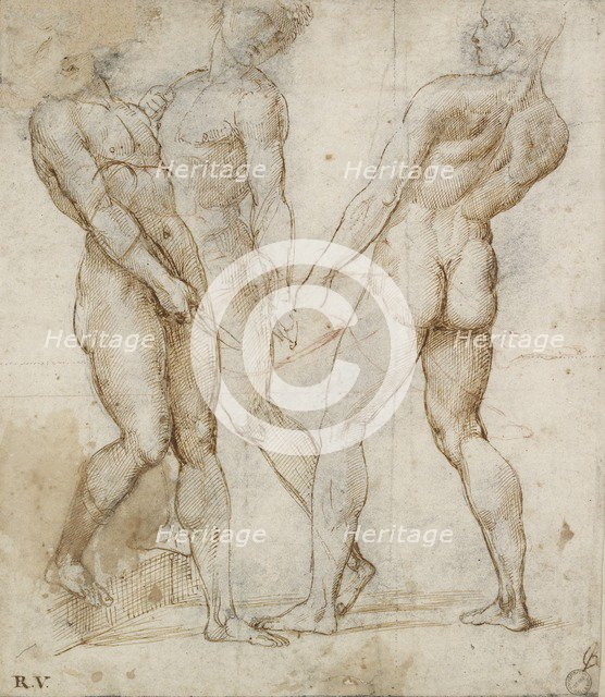 Three nude bearers (Study for the Entombment), early 16th century. Artist: Raphael.