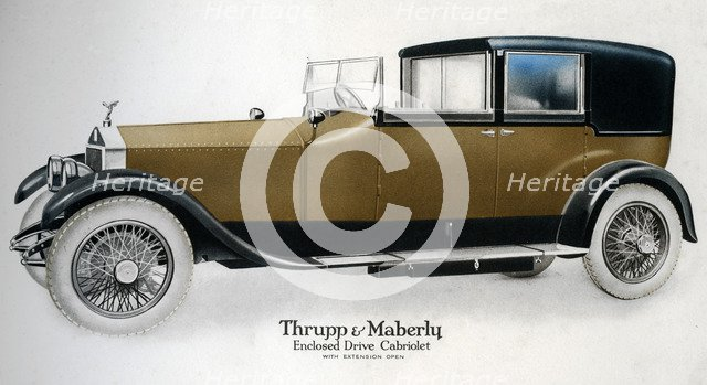 Enclosed drive Rolls-Royce cabriolet with extension open, c1910-1929(?). Artist: Unknown