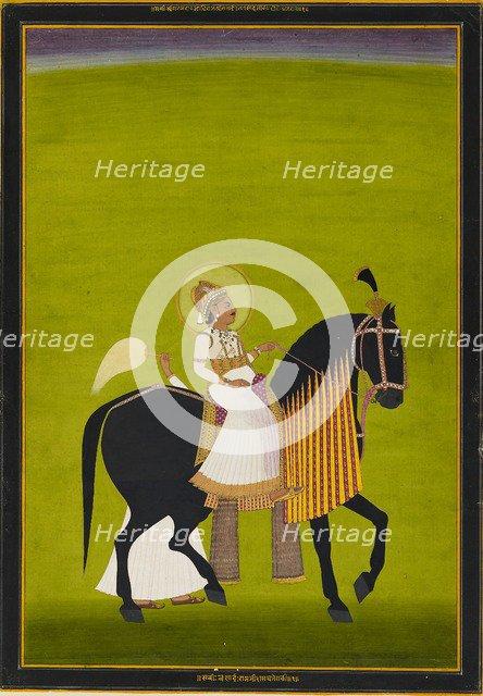 Maharaja Sawai Pratap Singh riding, 1782-1785. Artist: Ramji Das.
