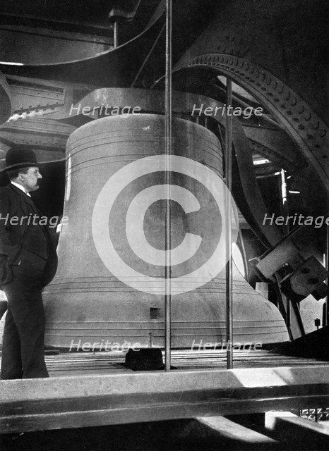 Bell in the tower of Big Ben, Palace of Westminster, London, c1905. Artist: Unknown