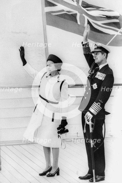 Queen Elizabeth II and Prince Philip on board the Royal Yacht 'Britannia', 1977. Artist: Unknown