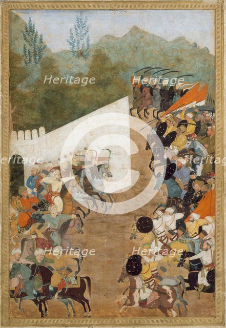 The Battle of Shahbarghan, Folio from a Padshahnama (Chronicle of the Emperor), 17th century. Creator: Unknown.