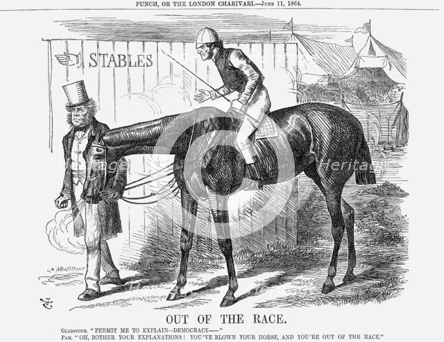 'Out of The Race', 1864. Artist: John Tenniel