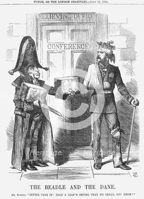 'The Beadle and The Dane', 1864.  Artist: John Tenniel