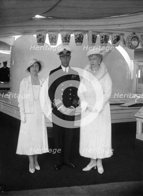 Queen Mary with the Duke and Duchess of York aboard 'HMY Victoria and Albert', 1933. Creator: Kirk & Sons of Cowes.