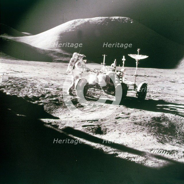 Astronaut with Lunar Roving Vehicle on the Moon, 1970s. Creator: NASA.