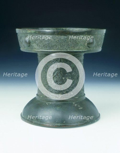 Bronze offertory stand with landscape decoration, Ming dynasty, China, 1485. Artist: Unknown