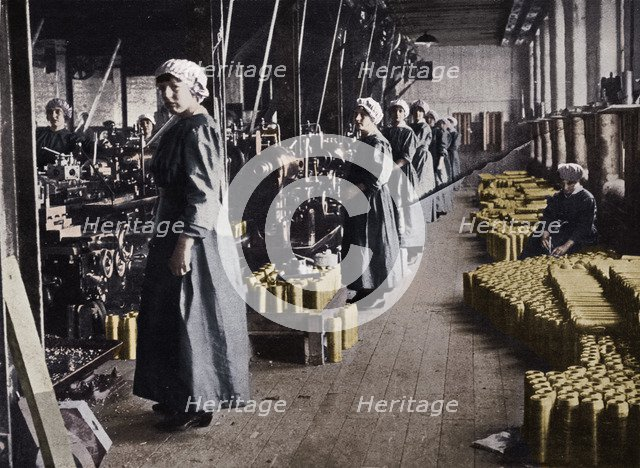 'Girl workers in a munitions factory', 1915. Artist: Unknown.