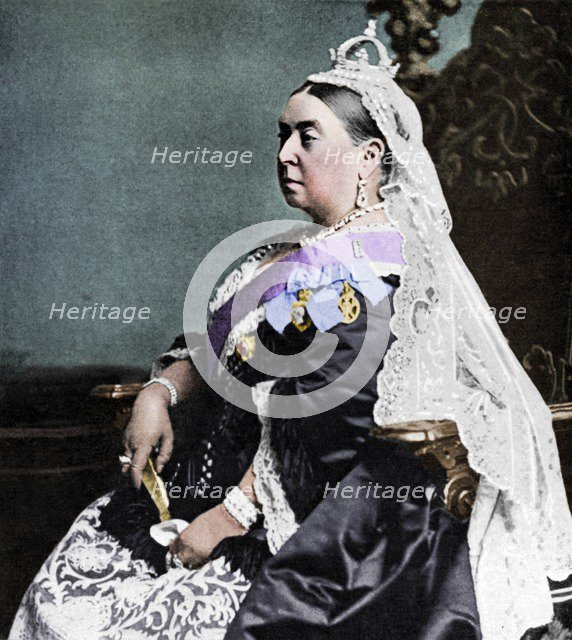 Queen Victoria in ceremonial robes at her Golden Jubilee, 1887 (1951).  Artist: Unknown.