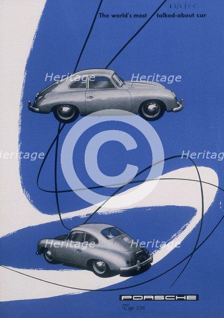 Poster advertising the Porsche 356, 1955. Artist: Unknown