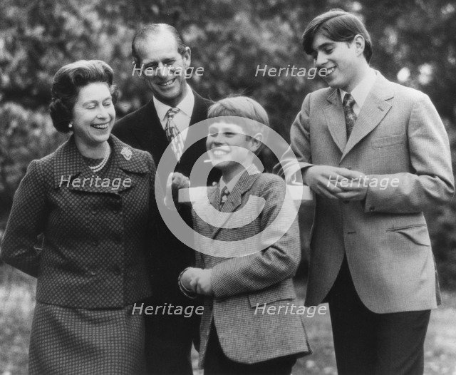 The Queen, Prince Philip and their two younger sons at Buckingham Palace, December 1974. Artist: Unknown
