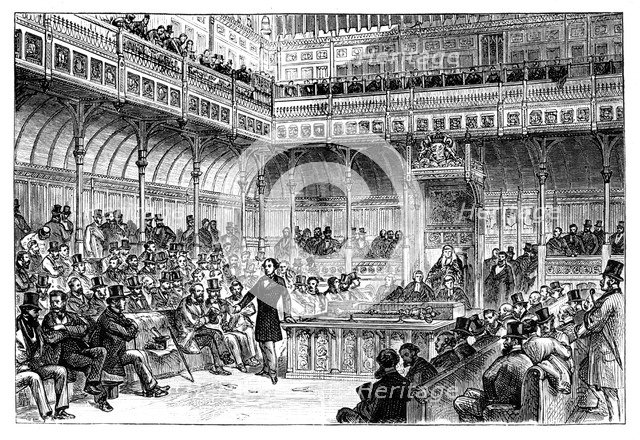 Benjamin Disraeli introducing his reform bill in the House of Commons, c1867. Artist: Unknown