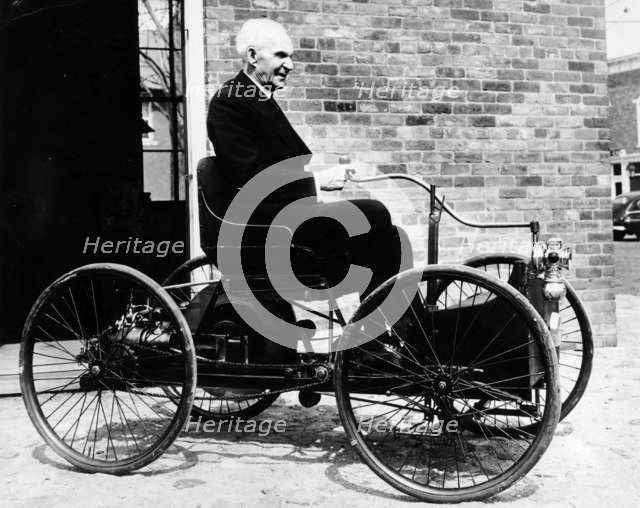 Henry Ford on a 1896 Ford, (c1940s?). Artist: Unknown