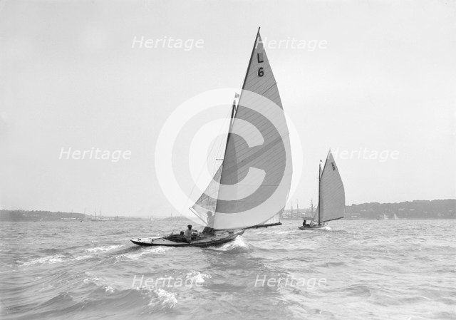 The 6 Metre 'The Whim' (L6) and 'Correnzia' racing downwind, 1911. Creator: Kirk & Sons of Cowes.