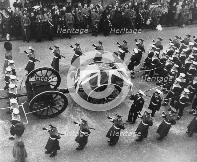 Sir Winston Churchill's coffin and gun carriage pulled by a brigade of Guards, 30th January 1965. Artist: Unknown
